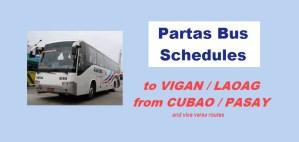 partas bus schedules vigan laoag from cubao or pasay