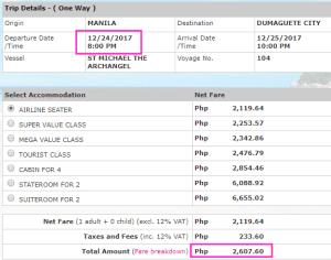 2Go Manila to Dumaguete Rate