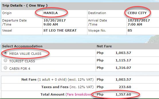 2go Manila to Cebu City ticket rate October