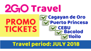 2018 2Go Travel Promo Tickets for Iloilo, Puerto Princesa, Cebu, Bacolod, Cagayan de Oro
