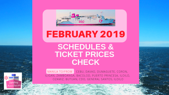 2GO schedules for the month of february 2019