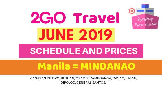 2GO schedules June 2019 MANILA to MINDANAO