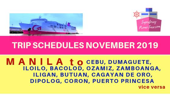 2go november 2019 schedules