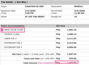 cagayan de oro to manila price 2go
