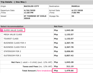 manila to bacolod 2go ticket price
