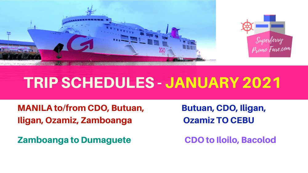 2go JANUARY 2021 schedules