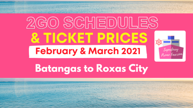 2go schedules and prices batangas to roxas