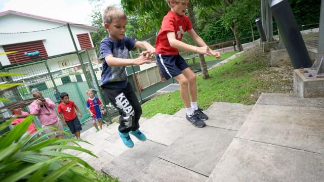 Swiss School Parkour Jumping