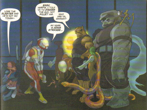 Adam Strange meets the Omega Men