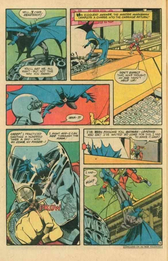 Batman vs Deadshot on a giant typewriter!