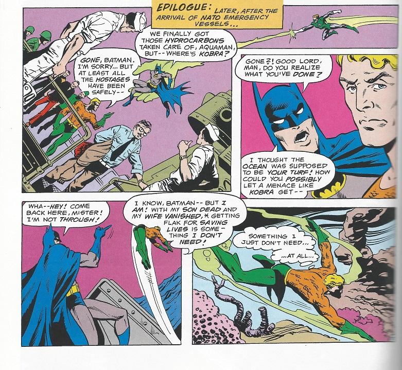 Batman yells at dispondent Aquaman