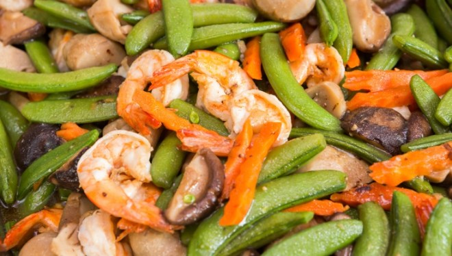 shrimp and string beans salad