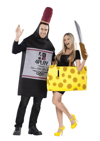 Amazon.com FunWorld Perfectly Paired Wine And Cheese Set 2 COSTUMES IN 1 BAG Black Yellow One Size Adult Sized Costumes Clothing
