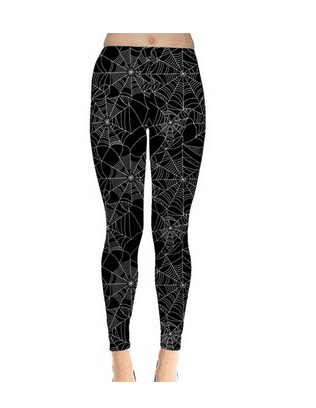 Black Halloween Spider Web Pattern Women s Leggings at Amazon Women's Clothing store
