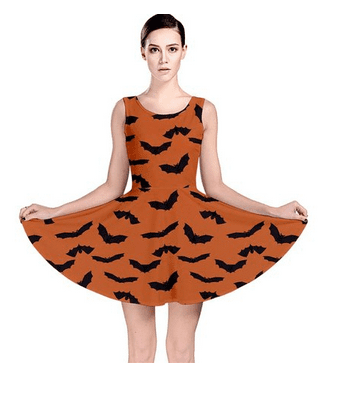 Orange Orange Halloween with Flying Bats Skater Dress at Amazon Women's Clothing store