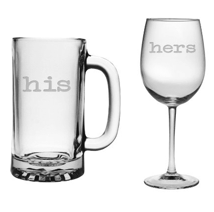 His Beer Mug and Her Wine Glass