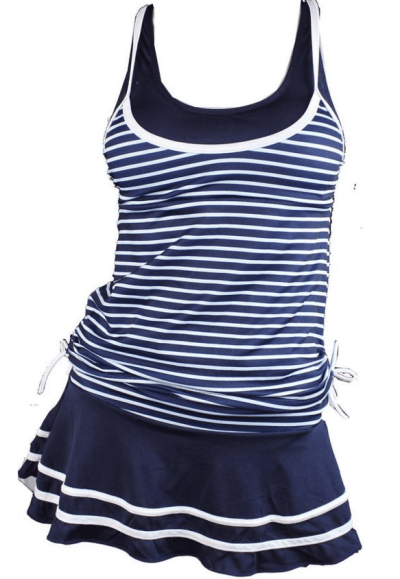 MiYang Women s Tankini Striped Trapeze Swim Dress
