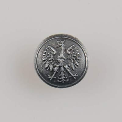 Policyjny guzik współczesny z orłem kolor stare srebro śr. 15 mm