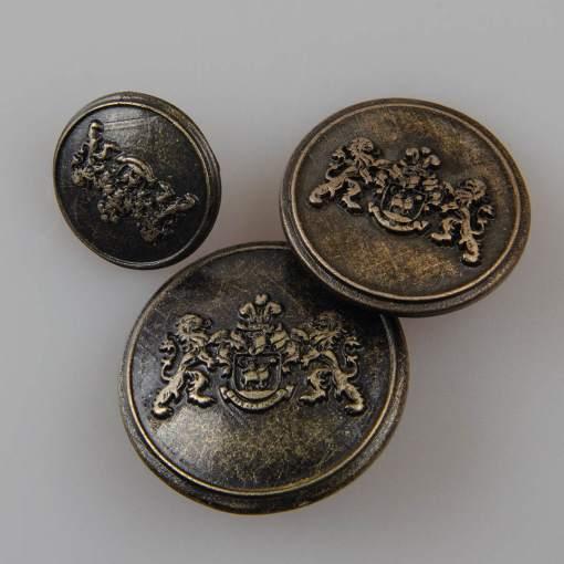 Guzik z herbem i dwoma lwami kolor stara miedź śr. 16, 22, 25 mm