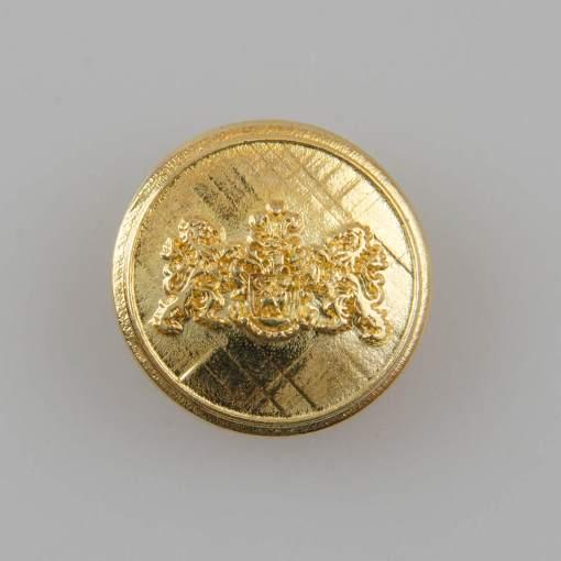 Guzik z herbem i dwoma lwami kolor złoty śr. 22 mm