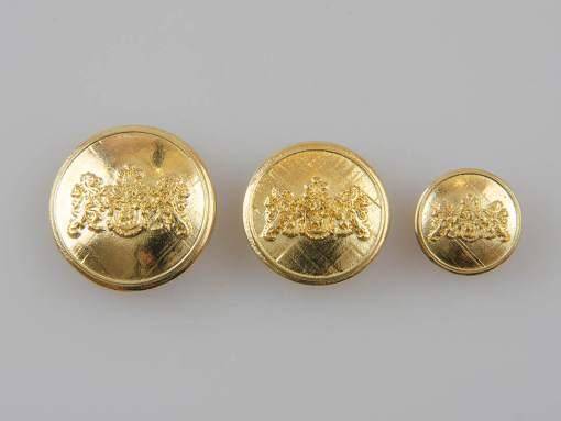 Guzik z herbem i dwoma lwami kolor złoty śr. 16, 22, 25 mm