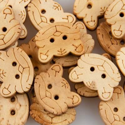 Guzik drewniany Kotek, 2 dziurki, naturalne drewno, DYI