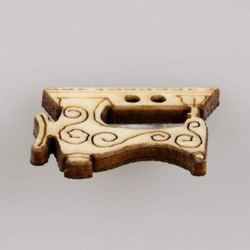 Guzik drewniany w kształcie dodatków krawieckich, 2 dziurki, naturalne drewno, 6 wzorów MIX