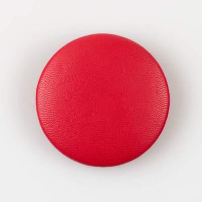 Guzik czerwony obciągany skórą cielęcą 44 mm