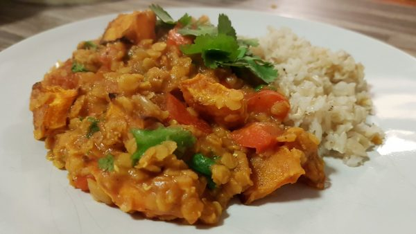 Vegan Red Pepper and Butternut Squash Lentil Dhal