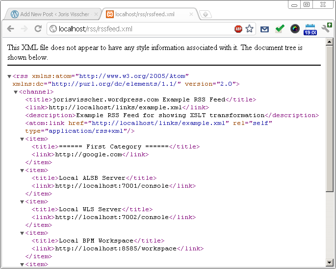 Use XSLT to display your RSS feeds on Google Chrome (Live