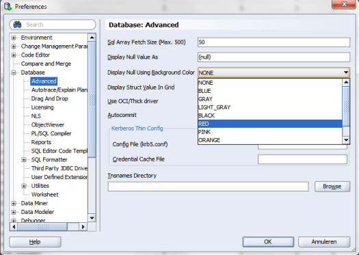 Screenshot - SQL Developer - Settings for colouring NULL values