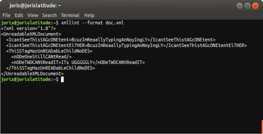 Screenshot indented XML on terminal