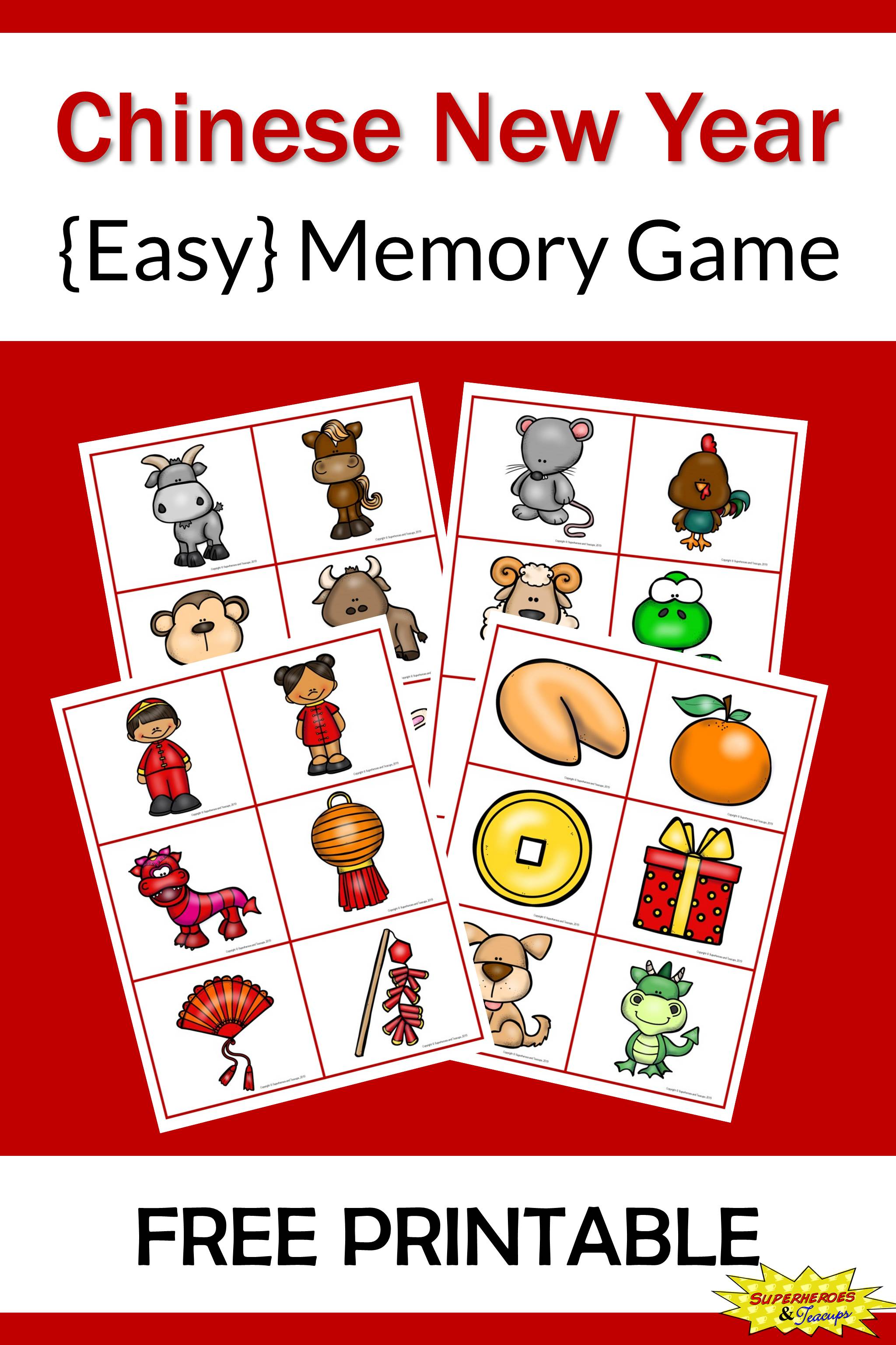 Chinese New Year Memory Game Free Printable
