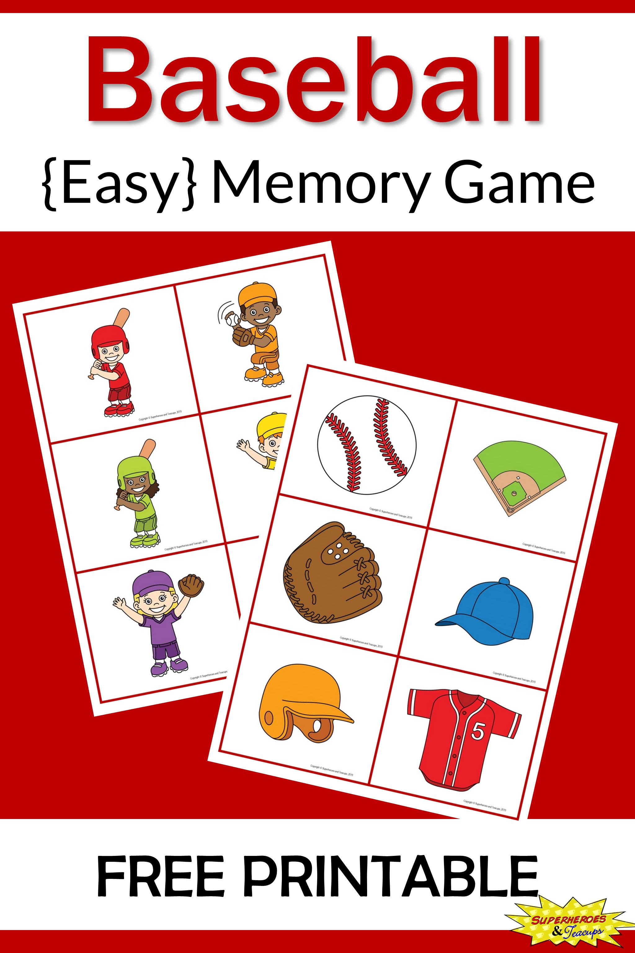 Baseball Memory Game Free Printable For Kids