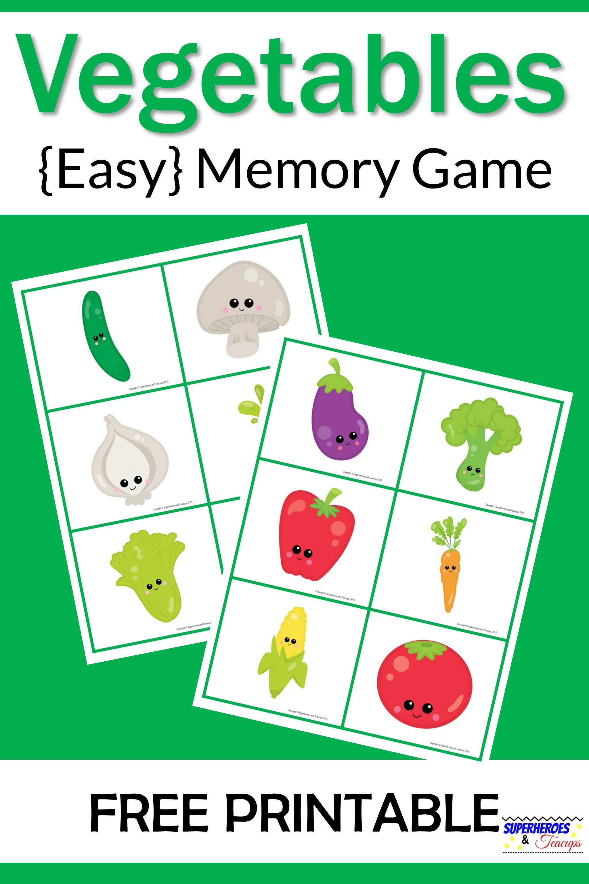 Vegetables Memory Game Free Printable For Kids