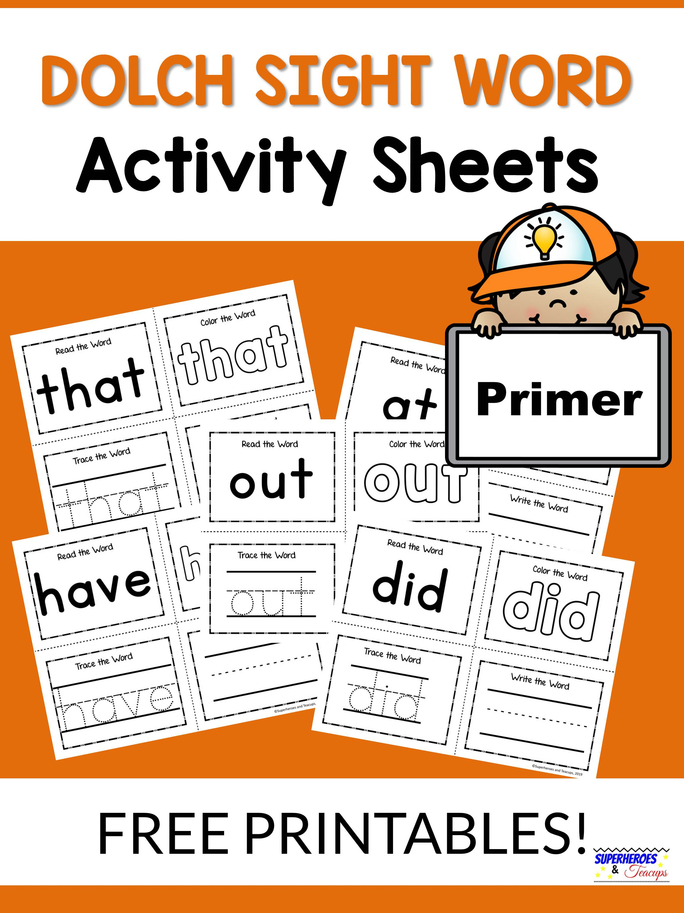 Primer Dolch Sight Word Activity Sheets