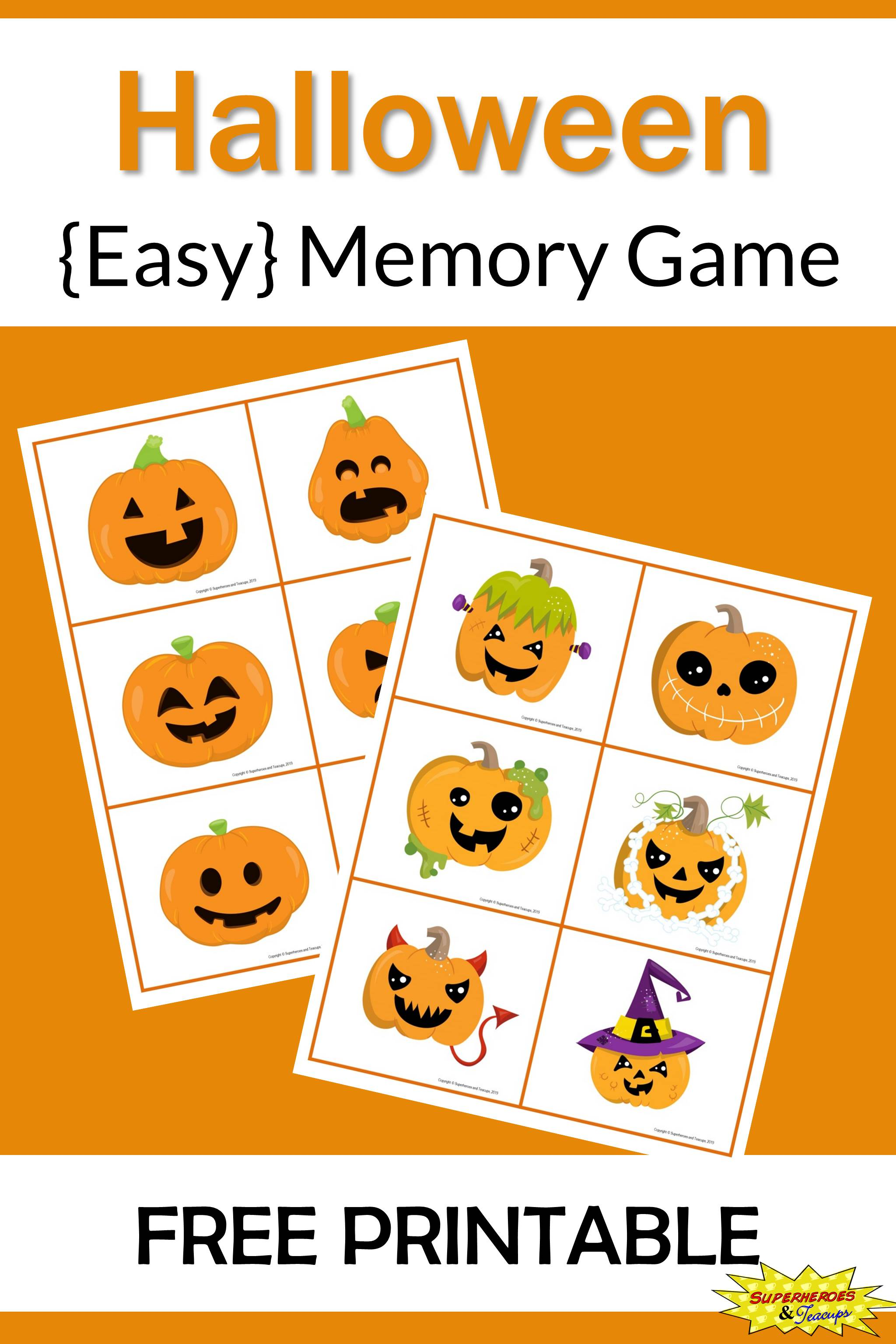 Halloween Memory Game Free Printable
