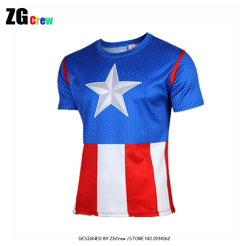 32b2591ea88 Sale New Arrival Men Short Sleeve Tees Marvel Captain America Super Hero  Lycra Compression Tights Sport T Shirt Fitness Clothing