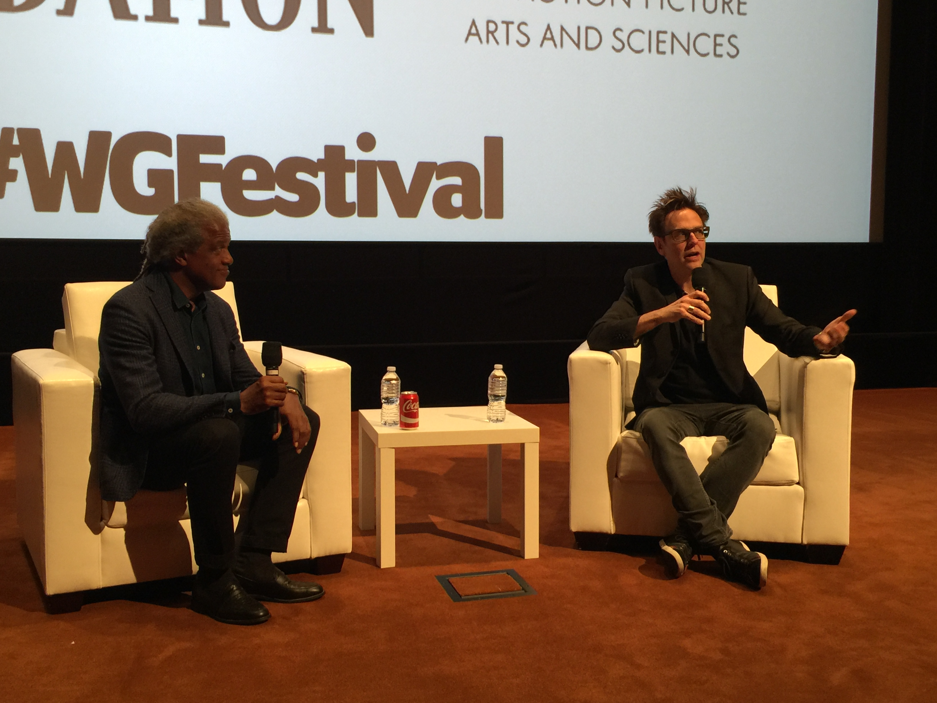 Elvis Mitchell (L) and James Gunn (R) at the Writers Guild Festival | Photo credit: Sean Gerber