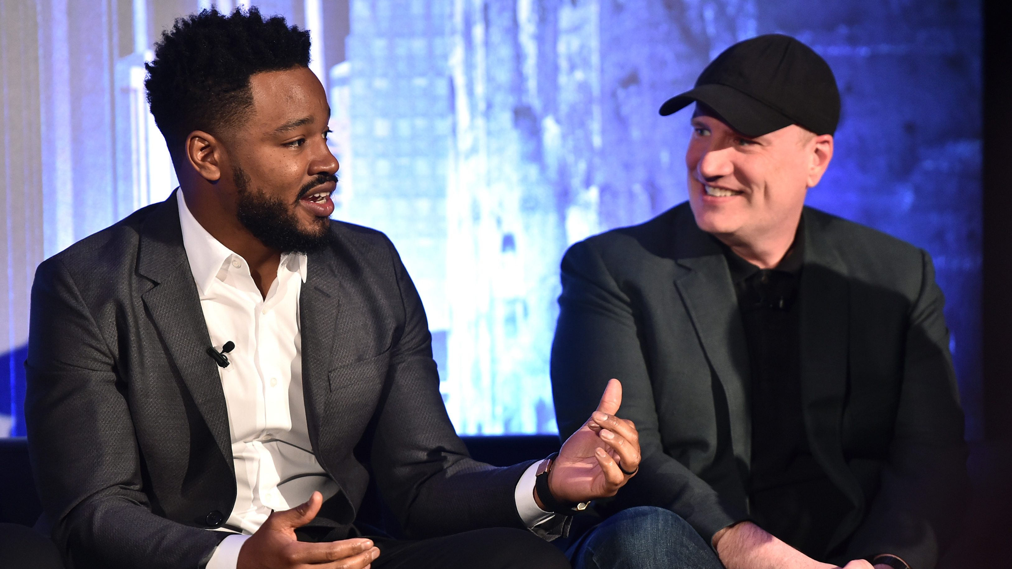 BEVERLY HILLS, CA - JANUARY 30: Director Ryan Coogler (L) and President of Marvel Studios Kevin Feige attend the Marvel Studios' BLACK PANTHER Global Junket Press Conference on January 30, 2018 at Montage Beverly Hills in Beverly Hills, California.  (Photo by Alberto E. Rodriguez/Getty Images for Disney) *** Local Caption *** Ryan Coogler; Kevin Feige