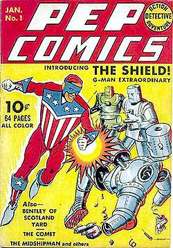 Pep Comics #1, featuring The Shield, art credit Irv Novick