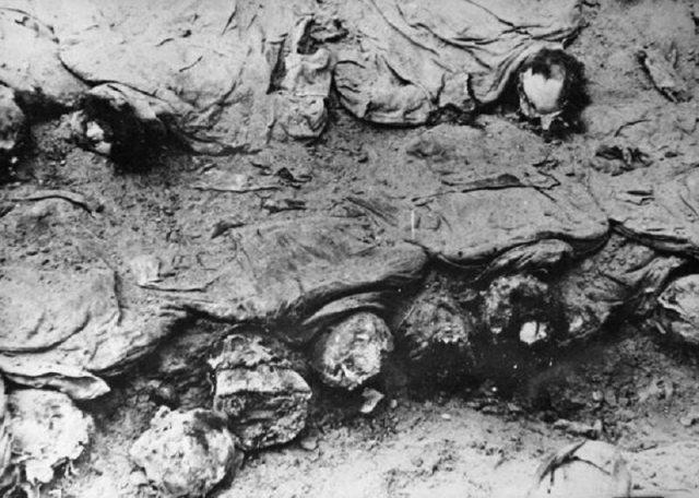 Ekshumacja oficerów zamordowanych w Katyniu, 1943 r.
