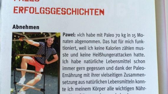 """Erfolgsgeschichte von Pawel im Pocket-Guide vom Kochbuch """"Paleo - Power for Life""""."""