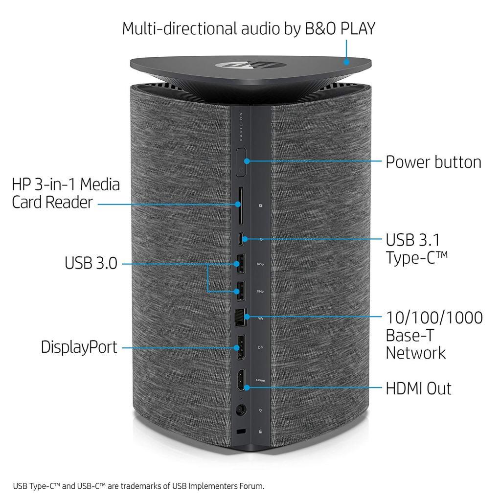Superior Digital News - HP Pavilion Wave Compact Desktop Computer with Amazon Alexa, Intel Core i5-7400T, 8GB RAM, 1TB hard drive, 256GB SSD, Windows 10 (600-a310, Black-Fabric) Connections