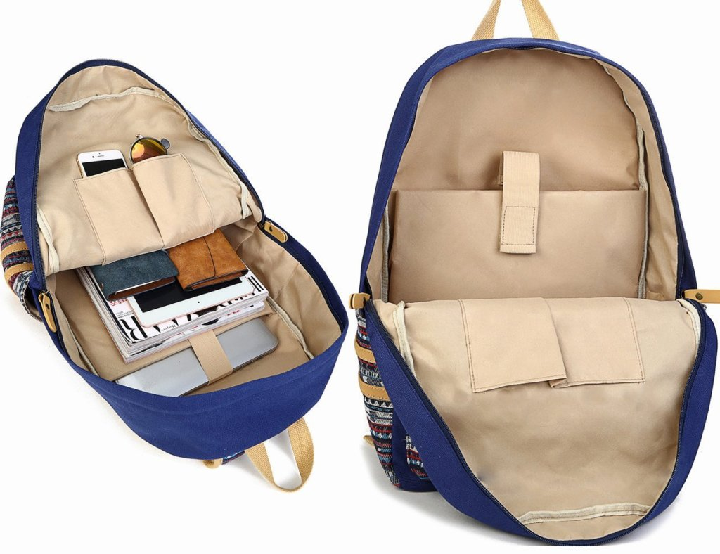 Superior Digital News - Leaper Casual Style Lightweight Canvas Laptop Backpack Interior