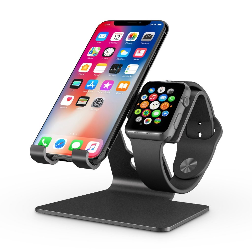 Superior Digital News - OMOTON Apple Watch and iPhone Charging Stand, Aluminum Desktop Holder