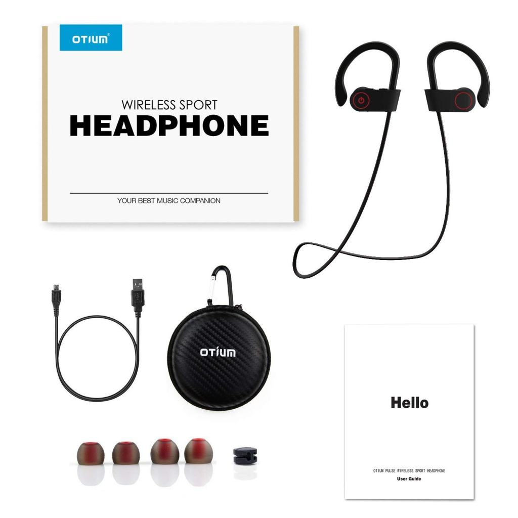 Superior Digital News - Otium Wireless Sport Earphones - Mic, IPX7 Waterproof, HD Stereo Sound, 8 Hour Battery, Over-Ear Hook - Accessory Kit