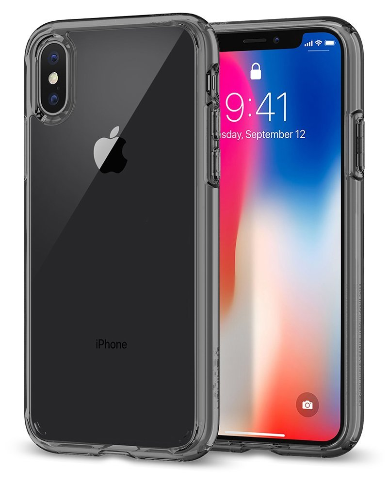 Superior Digital News - Spigen Ultra Hybrid iPhone XS Case - Smoke Crystal - Front and Back