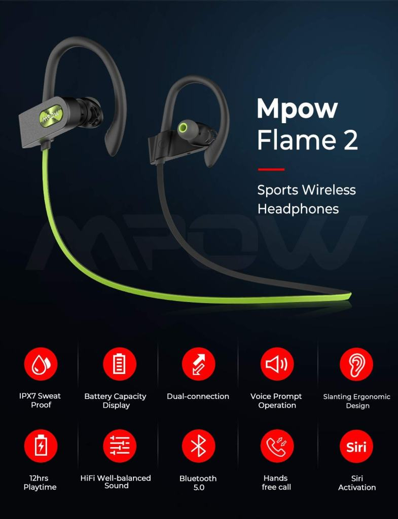 MPOW Flame 2 Bluetooth Workout Earbuds Features