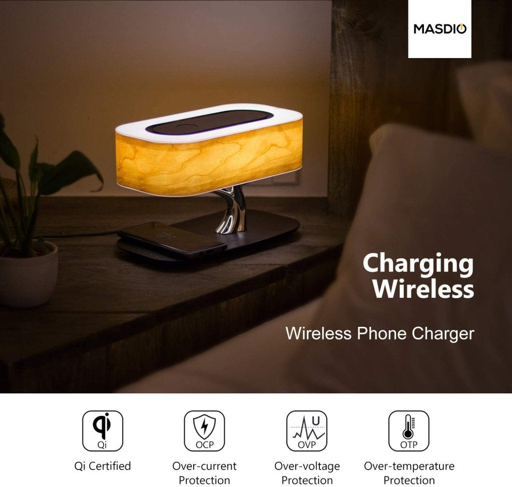 Ampulla Masdio Desk Lamp and Bluetooth Speaker with Wireless Charger